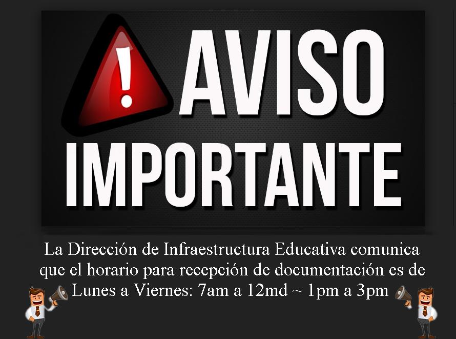 Horario recepción documentos Lunes a Viernes 7 a 12 y de 1 a 3.